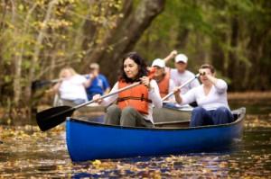 people riding canoe in Delaware River