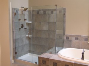 bathroom renovation with new tiles