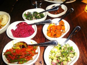 Zahav restaurant food spread