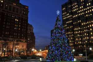 Christmas tree in downtown Philadelphia