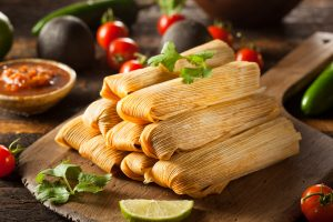 Homemade Corn and Chicken Tamales Ready to Eat