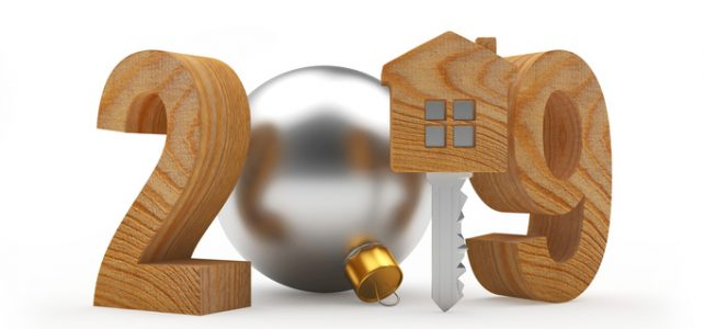2019 New Year wooden number and key-house icon on white. 3D illustration
